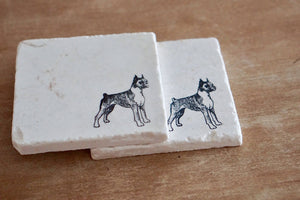 Boxer Cropped Ears Marble Coasters - Lace, Grace & Peonies