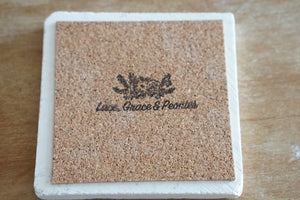 Marble Coaster - Lace, Grace & Peonies