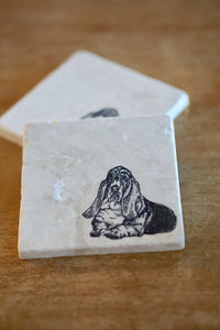 Basset Hound Marble Coasters - Lace, Grace & Peonies
