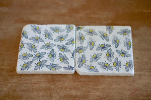Bumble Bee Marble Coaster Set - Lace, Grace & Peonies