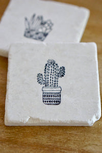 Succulent & Cactus Coaster-black and white - Lace, Grace & Peonies