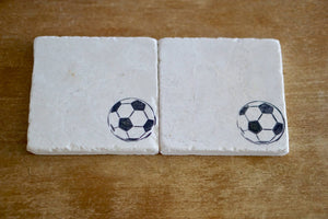 Soccer Ball Marble Coasters - Lace, Grace & Peonies