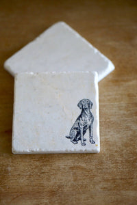 Weimaraner Dog Coasters - Lace, Grace & Peonies