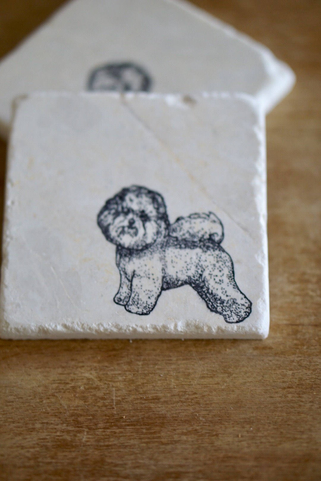 Bichon Frise Dog Marble Coasters - Lace, Grace & Peonies