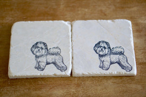 Bichon Frise Marble Coasters - Lace, Grace & Peonies