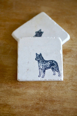 Australian Cattle Dog Marble Coasters - Lace, Grace & Peonies