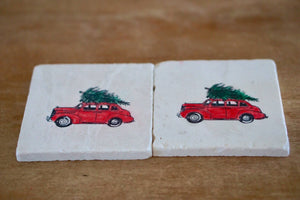 Vintage Car with Christmas Tree Marble Coasters - Lace, Grace & Peonies