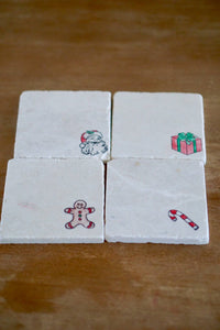 Christmas Decorations Marble Coasters - Lace, Grace & Peonies