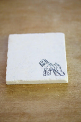 Wheaton Terrier Marble Coasters - Lace, Grace & Peonies