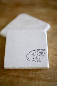 White Cat Marble Coaster Set Gift - Lace, Grace & Peonies