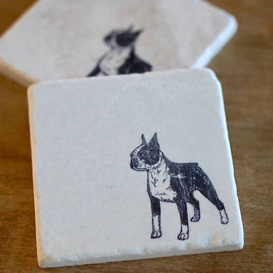 Boston Terrier Dog Marble Coasters - Lace, Grace & Peonies
