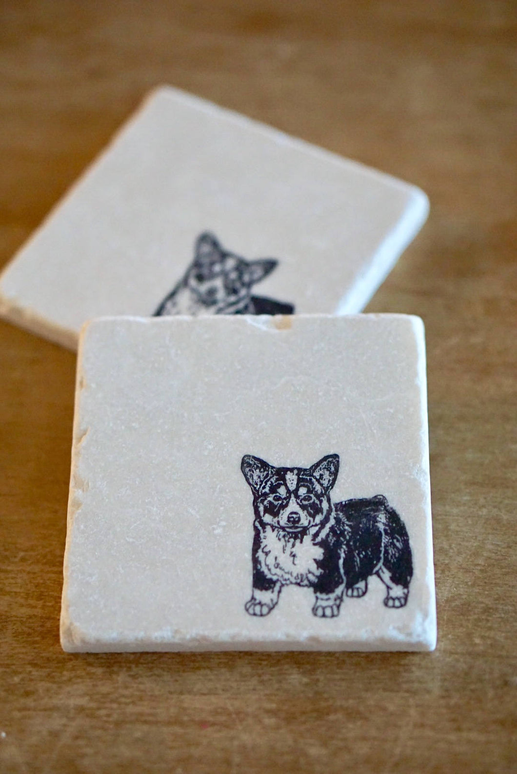 Corgi Dog Marble Coasters - Lace, Grace & Peonies