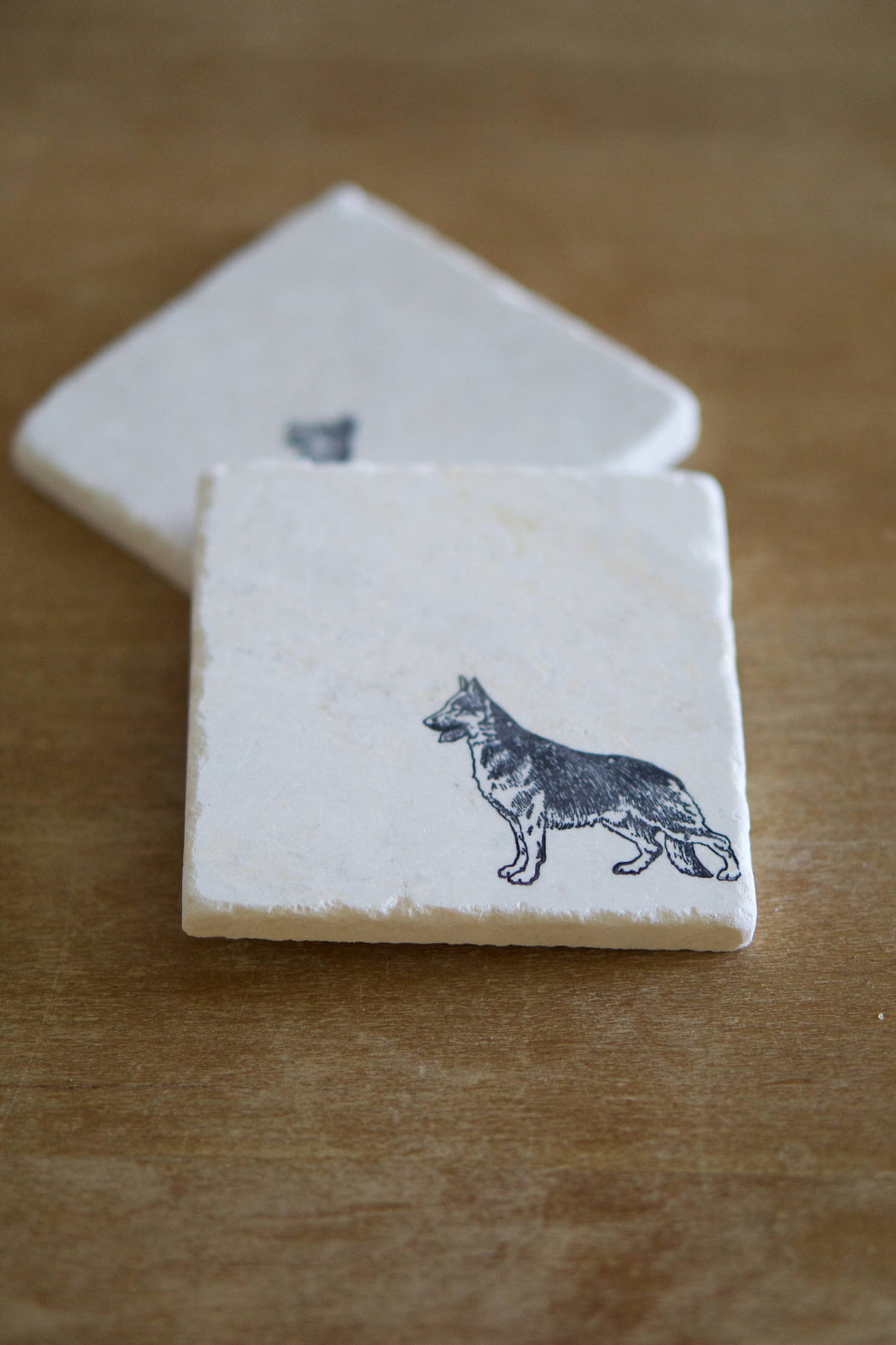 German Shepherd Dog Marble Coasters - Lace, Grace & Peonies