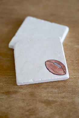 Football Marble Coasters - Lace, Grace & Peonies
