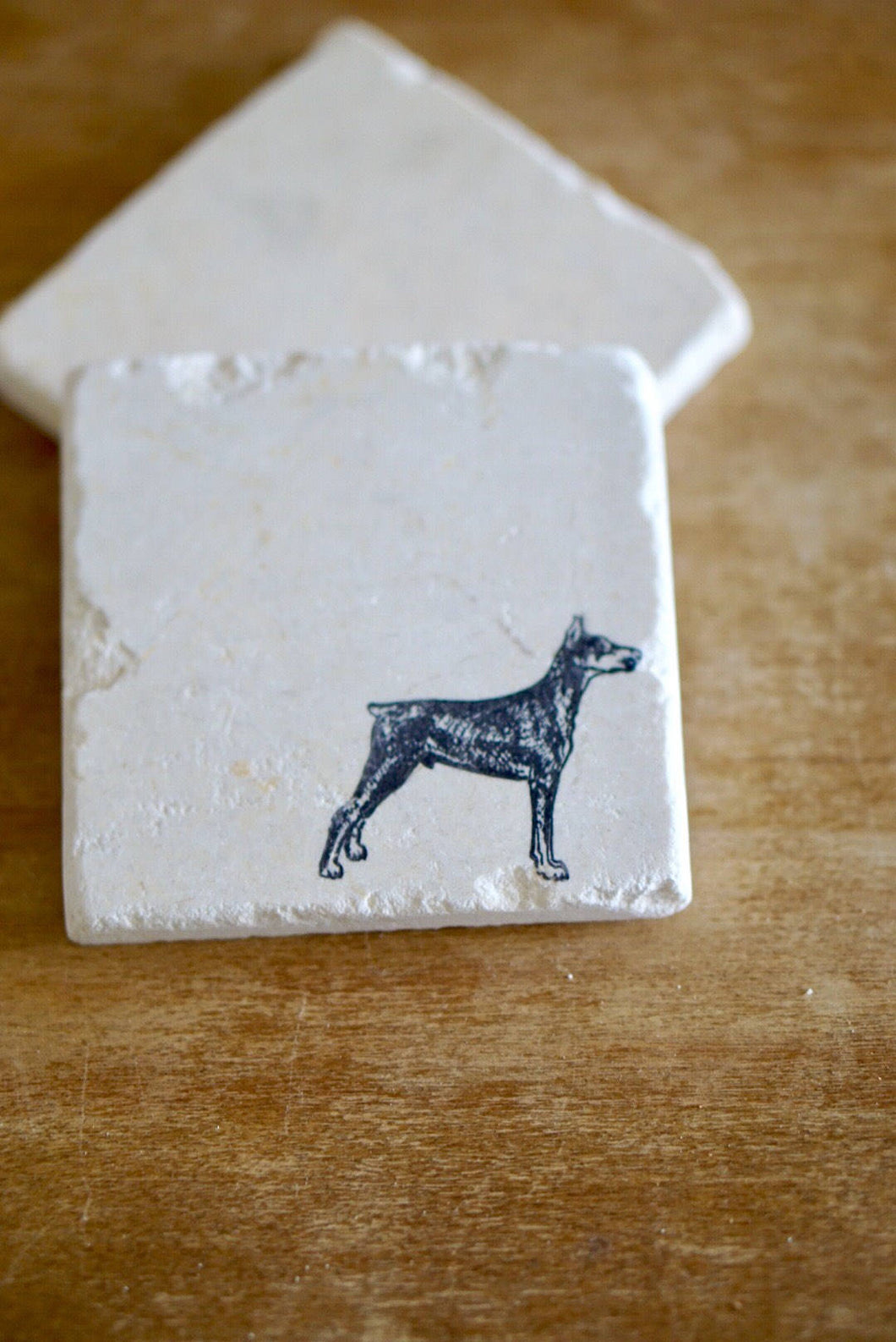 Doberman Dog Marble Coasters - Lace, Grace & Peonies