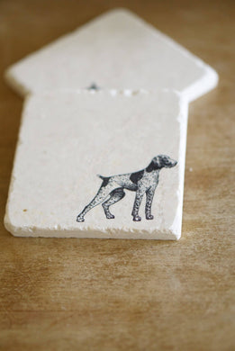 German Short Hair Pointer Marble Coasters - Lace, Grace & Peonies