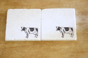 Cow Marble Coasters - Lace, Grace & Peonies