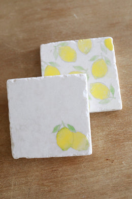 Lemon in corner Marble Coasters - Lace, Grace & Peonies
