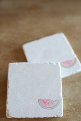Watermelon in Corner Marble Coasters - Lace, Grace & Peonies