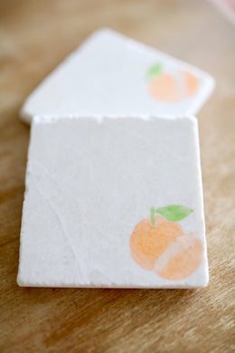 Orange Fruit Marble Coaster Home decor/ Fruit marble coasters/ stone coasters/ natural coasters/ custom coasters