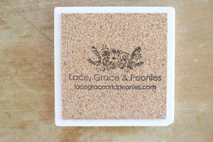Blue Floral Marble Coasters - Lace, Grace & Peonies