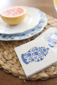 Blue and White Ginger Jar Marble Coaster Set - Lace, Grace & Peonies