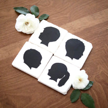 Children Silhouette Marble Coaster Set of 4 for Mother's Day Gift - Lace, Grace & Peonies