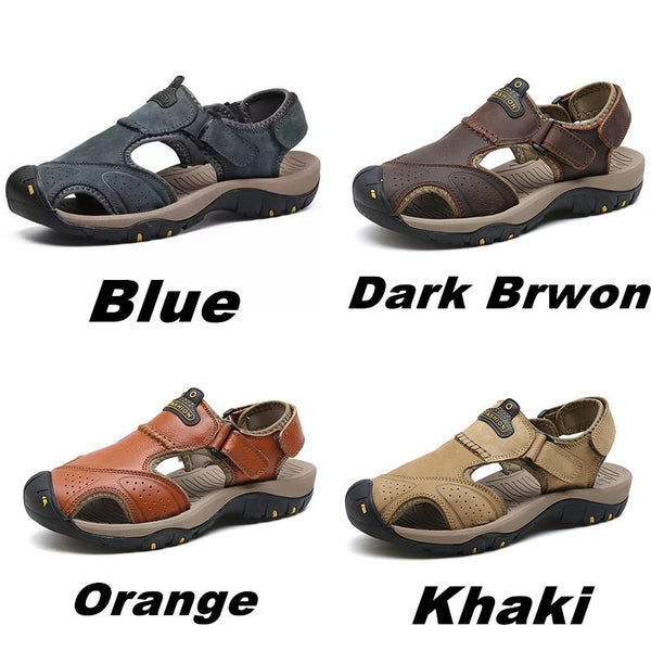 69d4e134b140 ... Men s Summer Wading Sandals Genuine Leather Fashion Beach Sandals  Casual Hiking Shoes ...