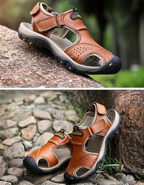 28d2da1b8f02 ... Men s Summer Wading Sandals Genuine Leather Fashion Beach Sandals  Casual Hiking Shoes ...