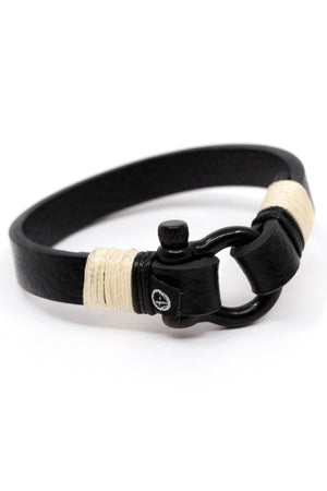 Shackle Leather Ocean Lab Bracelet