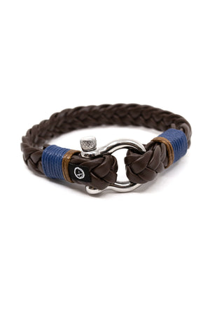 Shackle Braid Leather Ocean Lab Bracelet