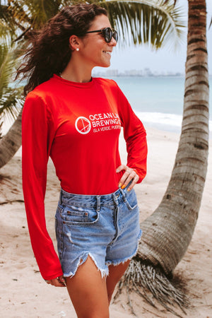 Ocean Lab Long Sleeve Ladies Rash Guard Red