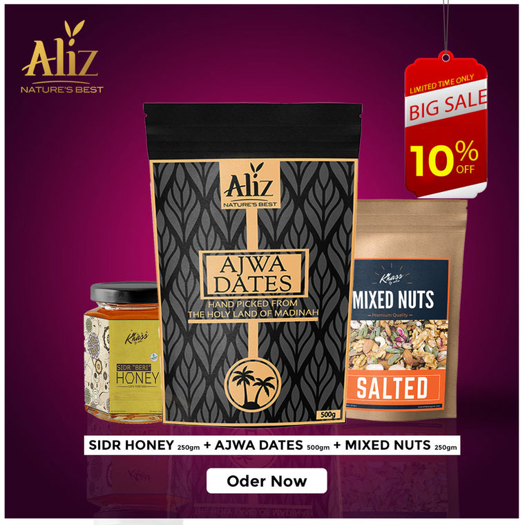 Sidr honey 250gm, Ajwa Dates 500gm and Mix Nuts 250gm Save