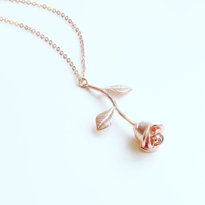 Handmade Fine Rose Pendant Necklace - 3 Colors