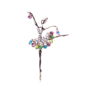 Colourful Rhinestone Ballerina Brooch