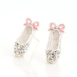 Rhinestone Ballet Shoes Stud Earrings