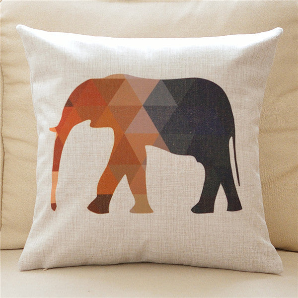45x45cm Elephant Pattern Cushion Cover - 2 Variants