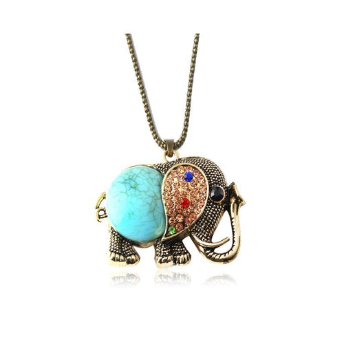 Rhinestone Elephant Long Necklace - 2 Colors