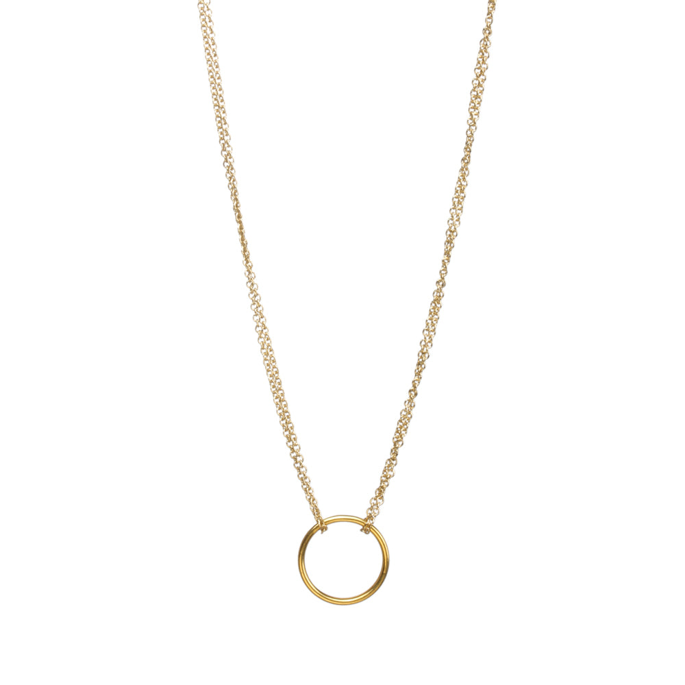 Double Chain Karma Circle Necklace - 2 Colors