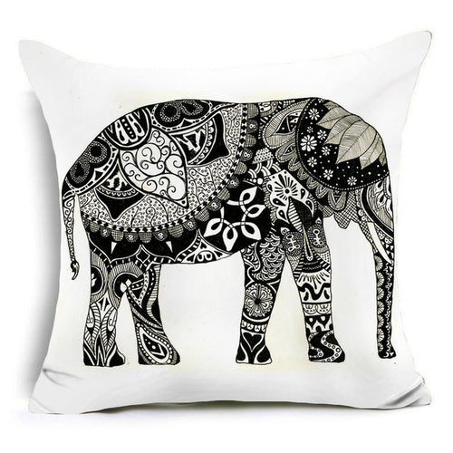 43x43cm Elephant Cushion Cover - 4 Variants
