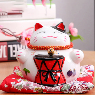 4.5 Inch Lucky Cat With A Drum