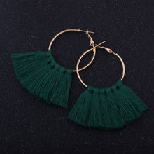 Fan-Shaped Tassel Simple Hoop Earrings