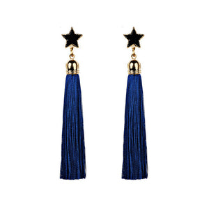 Star & Long Tassel Earrings