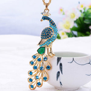 Blue and Green Crystal Peacock Pendant Long Necklace