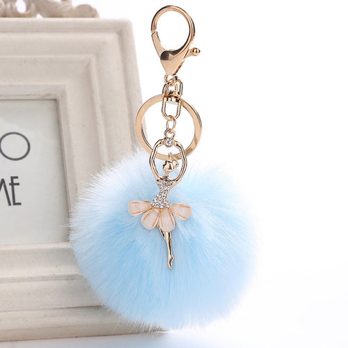 Ballerina Pom Pom Key Chain / Bag Charm