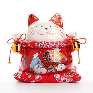 10 Inch Prosperous Red Lucky Cat