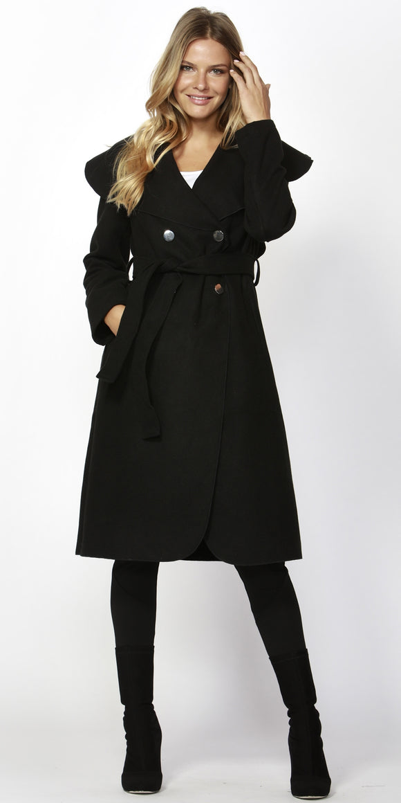 Celina Wide Collar Coat Black