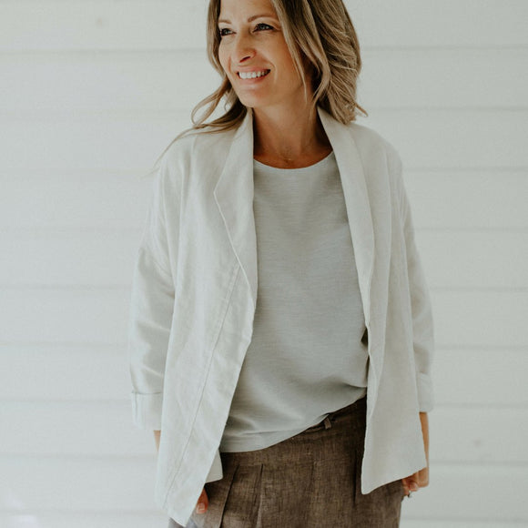 Gigi Linen Jacket Chalk