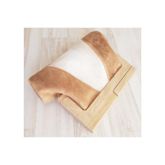 Camel Leather and Hide Timber Clutch