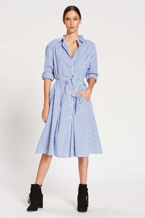 Swing Shirt Dress Blue Stripe